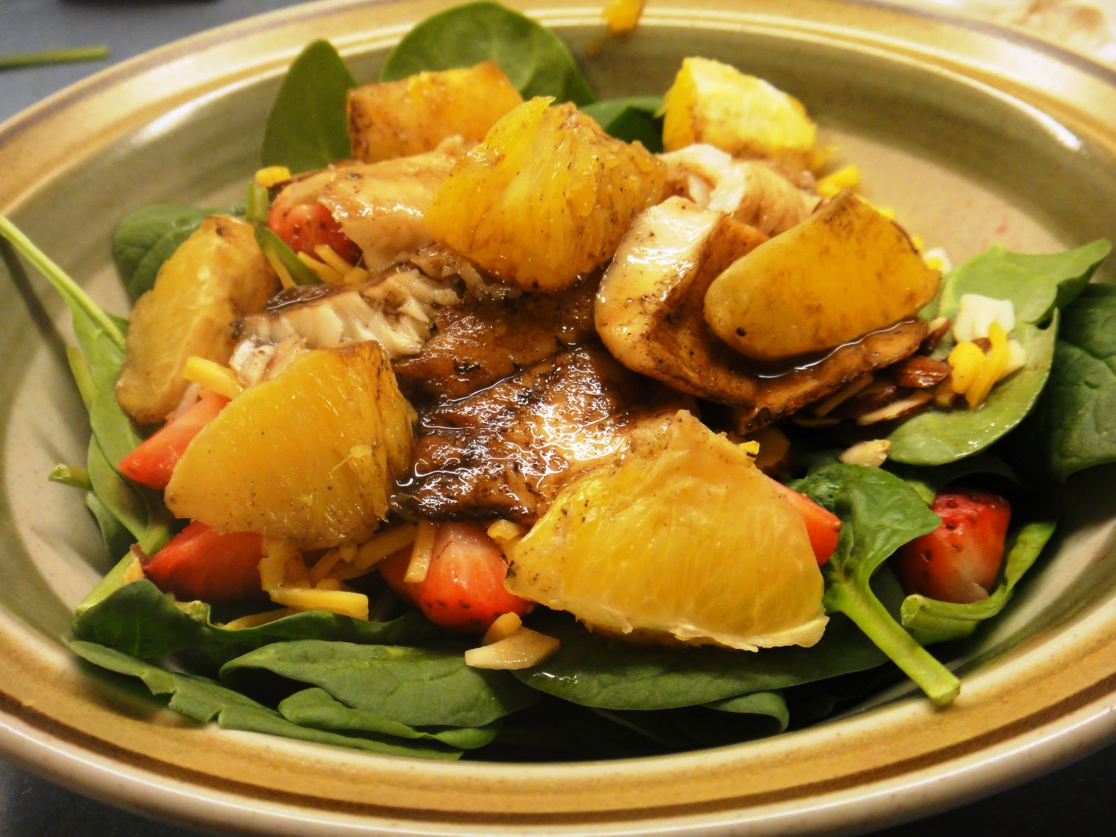 ... Clean Eating Orange Honey Tilapia (OAMC) over Strawberry Walnut Salad
