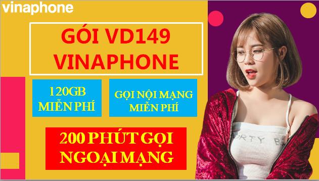 Tặng 120GB (4GB/ ngày), 200 tin nhắn, 200 phút ngoại mạng VD149 Vinaphone