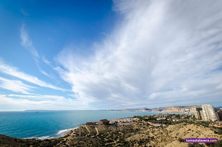 Nikon D5100, 10-20 mm, Paisajes, Cabo de la Huerta, Cala Cantalares, Alicante, Miradores, Mar, Nubes, Cabo de Santa Pola, Serra Grossa, Monte Benacantil,