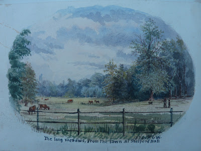 The view from Little Shelford Hall towards what is now the Wale Recreation Ground. the hall was built in 1851. It burnt down in 1929.