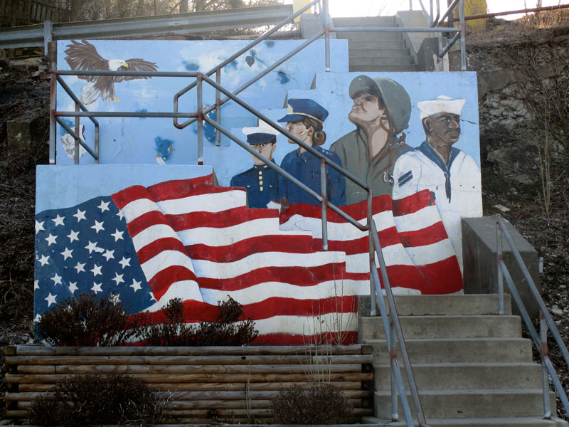 American Flag. Soldier, sailor, airman, marine.