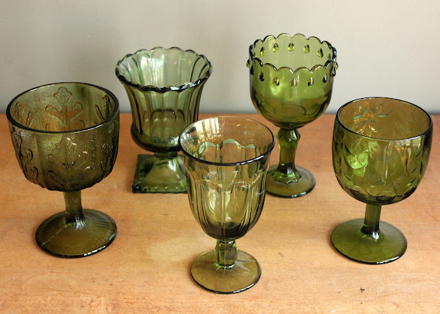 Assorted green goblets available for rent from www.momentarilyyours.com, $1.00 each.