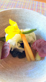 Nodoguro July 2014 Orach, pickled burdock, fennel, and cucumber blossom