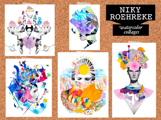 Niky roehreke watercolor collages