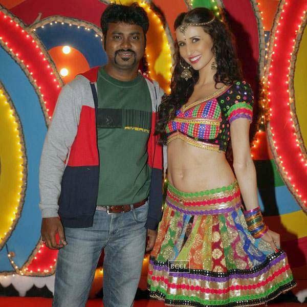 Writer Aaryaan Saxena and Claudia Ciesla on the sets of movie Desi Kattey.