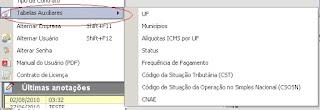 NeXT ERP NFe 2.0 segunda geração tabelas auxiliares