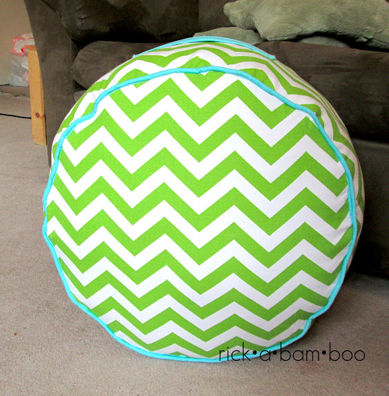 lime green chevron floor pouf | rick•a•bam•boo