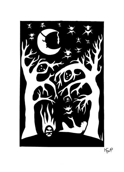 Ночь (цветная бумага 31х21)
