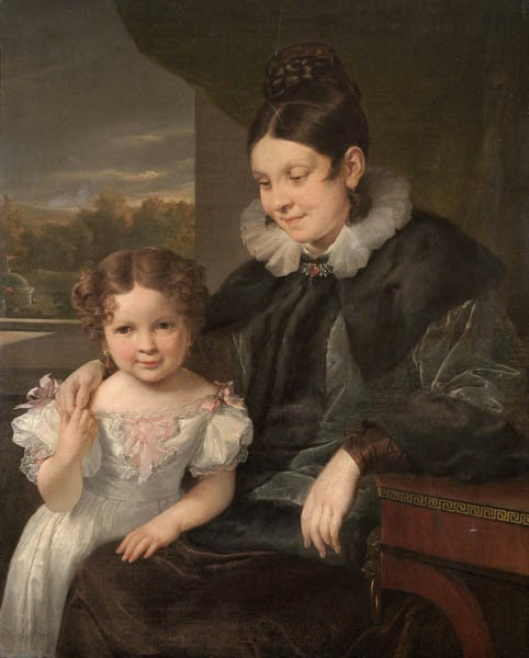 Vasily Tropinin - Portrait of V. I. Yershova with Her Daughter