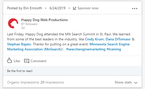 Happy Dog Web Productions' LinkedIn update using hashtags.