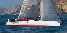 J/125 sailing around Catalina Island