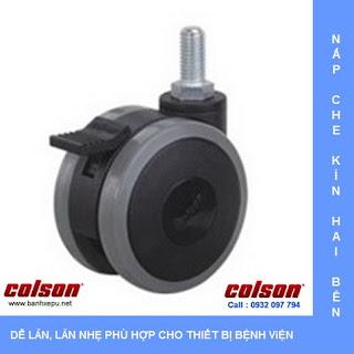 Bánh xe đẩy PU bánh xe đôi CGT trục ren chịu tải trọng 40kg www.banhxepu.net