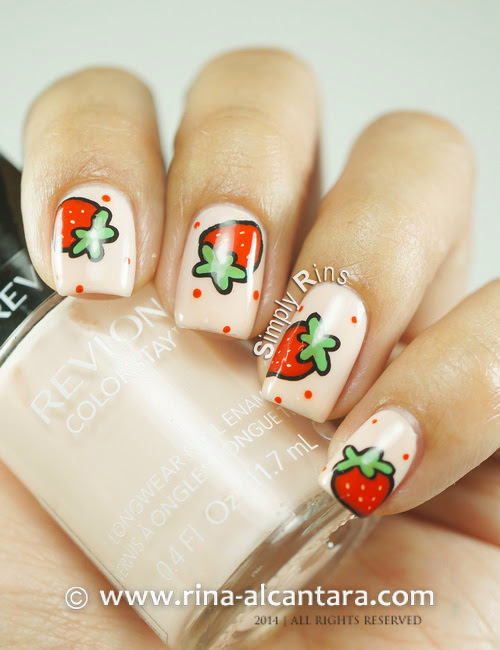 Strawberry and More Strawberries Nail Art on Revlon Natural Pink