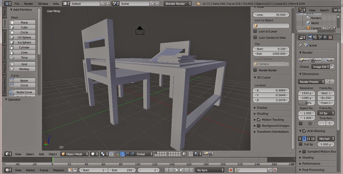 Meja kursi dan buku pada blender