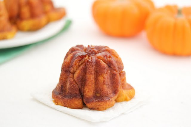 close-up photo of one Pumpkin Cinnamon Monkey Bread with Rum Glaze