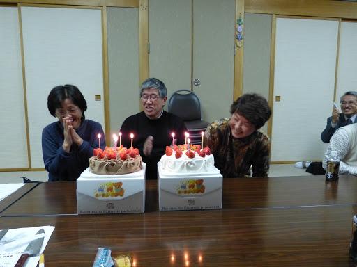 お3人さんの誕生祝いをしました