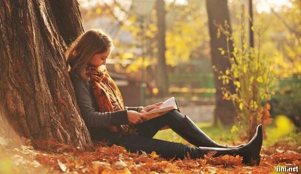 ảnh cô gái ngồi dưới gốc cây mùa thu