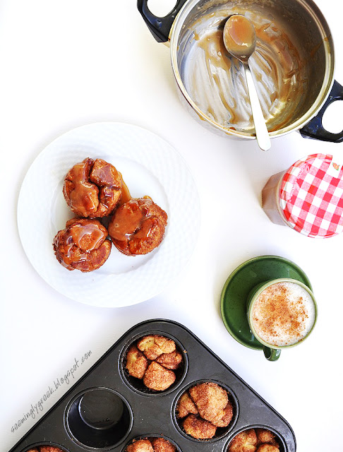 caramel monkey bread Monkey Bread Muffins with Homemade Caramel Sauce