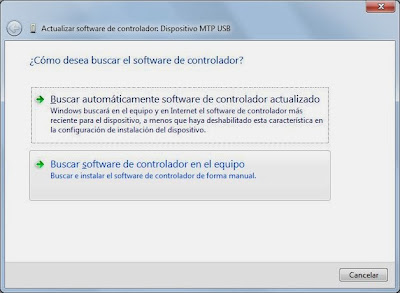 Instalar controlador driver de dispositivo de forma manual en Windows 7