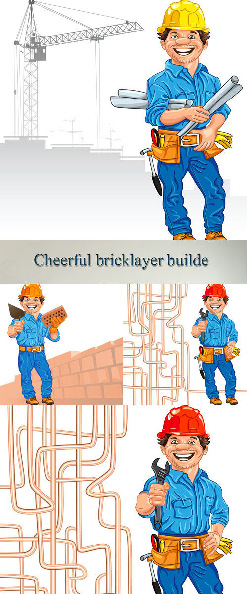 Stock: Vector cheerful bricklayer builder