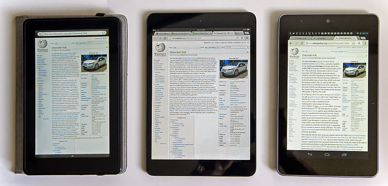 1st gen Comparison iPad Mini & Google Nexus 7 & Kindle Fire Wikipedia screen, Tablet comparison: Amazon Kindle Fire (left), Apple iPad Mini (center) and Google Nexus 7 (right), Own work by Mariordo (Mario Roberto Durán Ortiz) via WikimediaCommons
