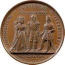 Medal z czasów Wojny Krymskiej przedstawiający trzy postacie symbolizujące protestatnów Anglików, katolików Francuzów i muzułmanów Turków broniących cywilizacji przed prawosławiem.