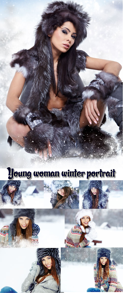 Stock Photo: Young woman winter portrait