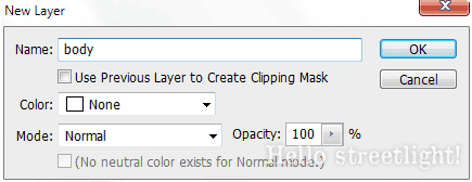 Create a new layer named body.