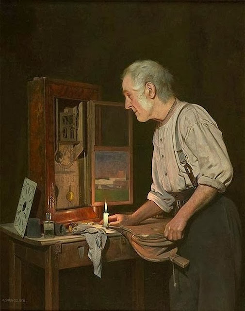 Charles Spencelayh - The Old Clockmaker