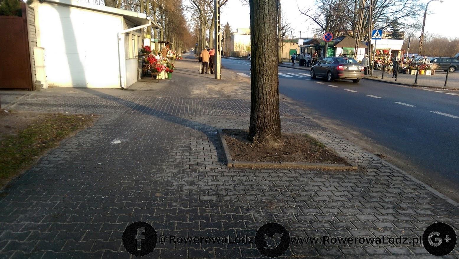 Obok mamy jezdnię... ale rowerzystów wpycha się na chodnik z kostki betonowej.