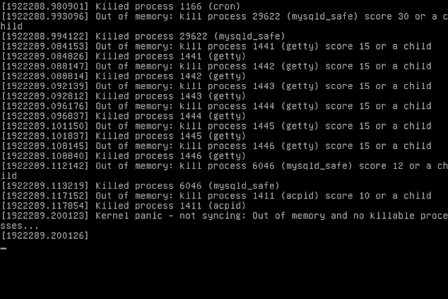 Kernel panic - not syncing: Out of memory and no killable processes...