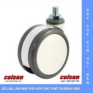 Bánh xe PU bánh đôi CPT trục ren chịu tải trọng (80~100kg) www.banhxepu.net