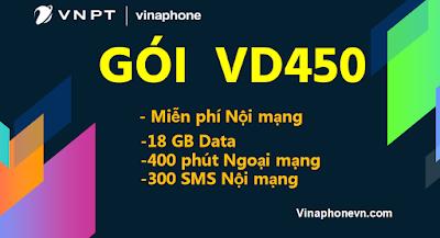 Nhận 18GB, 400 phút ngoại mạng, Nội mạng miễn phí gói VD450 Vinaphone