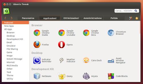 Ubuntu Tweak 0.8.0  - categoria Applicazioni