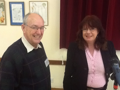 RSM Treasurer John Westwood with our speaker Liz Wright of Coco Angel - 11 March 2013