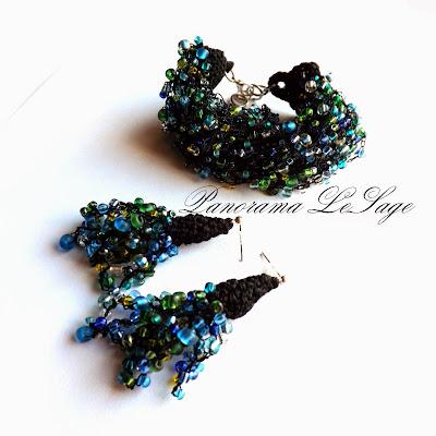 Rosa morska drobne szklane koraliki biżuteria z koralików szydełkowa Panorama LeSage morze plaża morskie fale biżuteria artystyczna naszyjnik szydełkowy bransoleta szydełkowa kolczyki szydełkowe