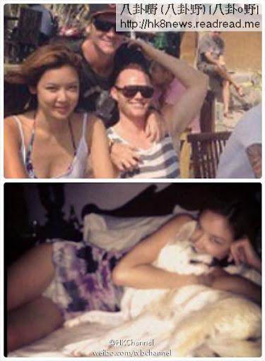 樂基兒Gaile(前排左一)與新歡Cuz(戴帽者)同遊峇里。樂基兒在床上攬著愛犬,不經意的露底,暗示生活無拘無束。