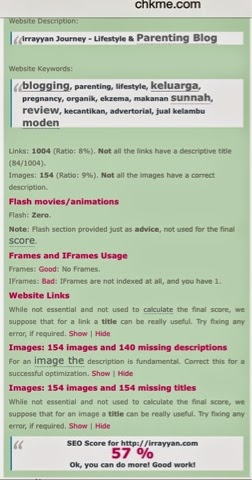 Seo blog meningkat menjadi 57% selepas mendapat bantuan blogger ceritaejoy.blogspot.com