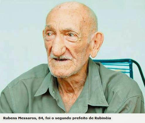 Rubens Messaros, 84, foi o segundo prefeito de Rubinéia.