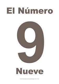 Lámina para imprimir el número nueve en color marrón
