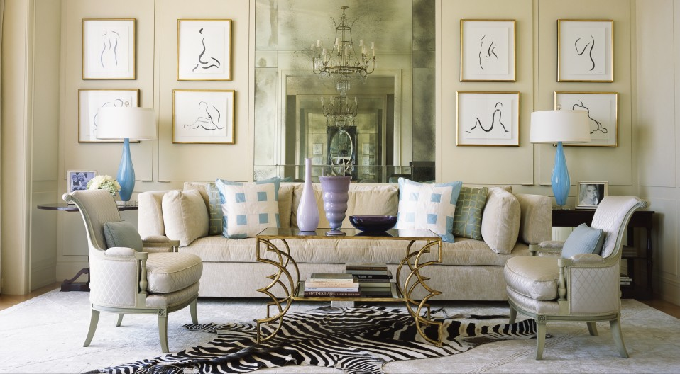The Neutral Color Palette In This Living Room Receives Shots Of Bright  Turquoise In The Form Of Elegant Glass Lamps. Contemporary Art Work Hangs  ...