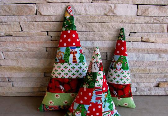 almofada arvore de natal patchwork