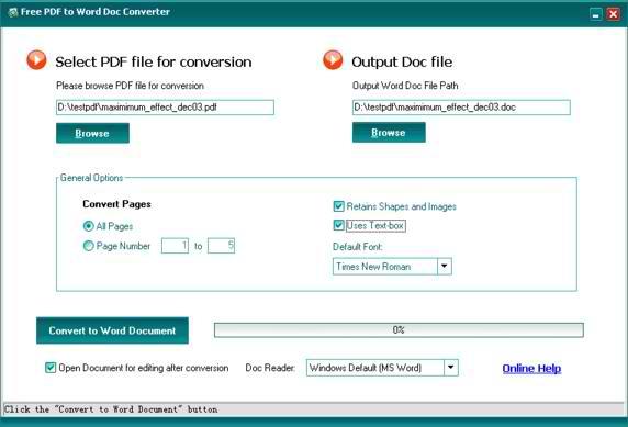 Free PDF to Word Doc Converter 1.1 - Μετατρέψτε τα PDF σε Word αρχεία
