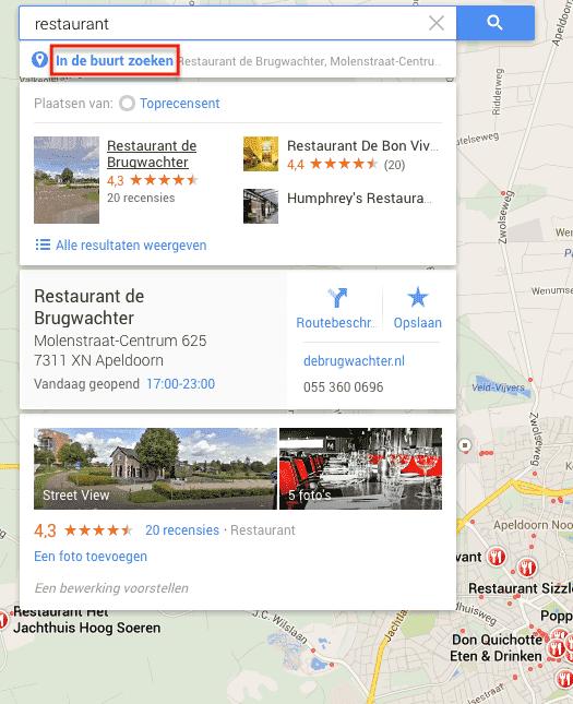 Google Maps: in de buurt