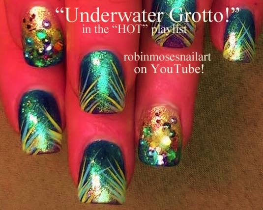 Nail Art By Robin Moses Mermaid Nail Art Aquarium Nail Art Purple