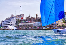J/80 finishing off Royal Yacht Squadron's famous Cowes finish line