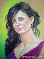 Портрет цветной, выполнен пастелью по тонированной бумаге, размер 50Х60 см