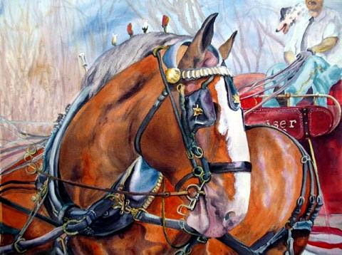 """One of Eight"" by Linda wilmes. Watercolor.15.5 x 19.5 matted and framed. $435.00."