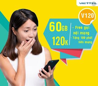 Nhận 60GB, Miễn phí gọi Không giới hạn Gói V120 Viettel