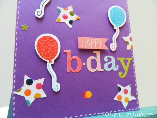 10 minute craft dash challenge 21 stars card happy birthday echo park hello summer stickers balloons pretty pink posh blog